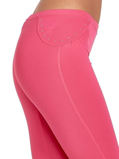 Różowe legginsy sportowe termalne z dżetami i ściągaczem                                  zdj.                                  5