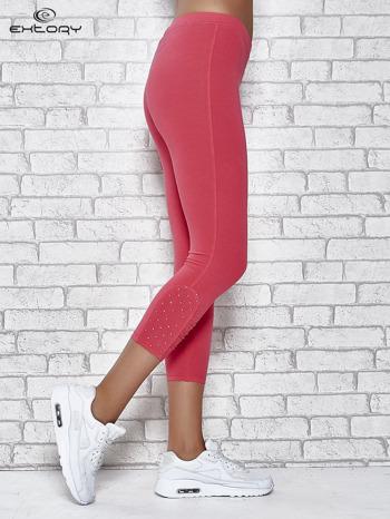 Różowe legginsy sportowe z aplikacją z dżetów na nogawkach                                  zdj.                                  3