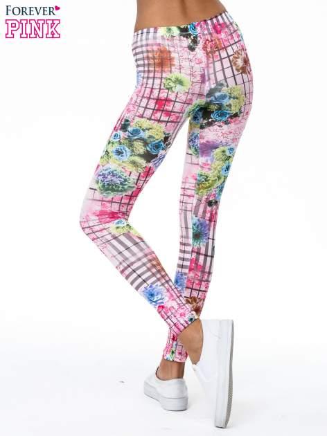 Różowe legginsy z kraciastym nadrukiem                                  zdj.                                  5