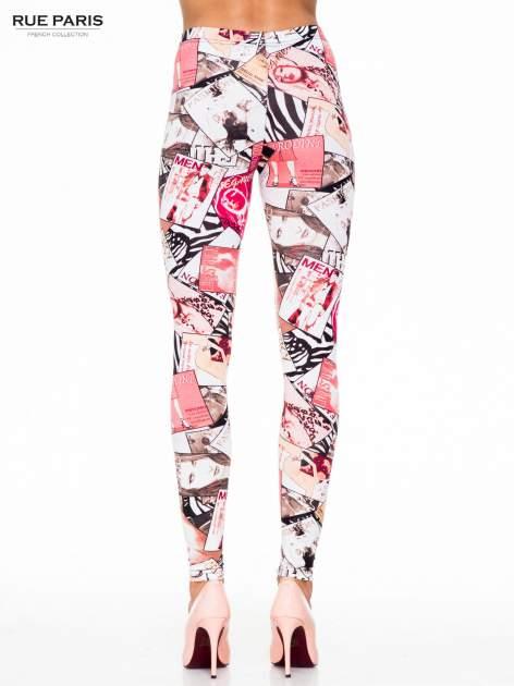 Różowe legginsy z nadrukiem magazines print                                  zdj.                                  4