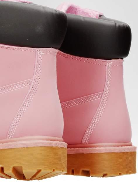 Różowe ocieplane traperki damskie z kontrastowym kołnierzem                                  zdj.                                  6
