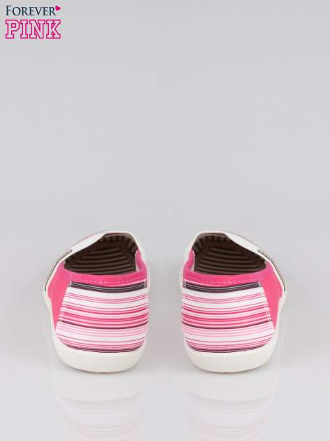 Różowe pasiaste buty slip on                                  zdj.                                  3