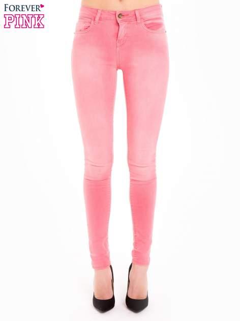 Różowe spodnie jeansowe super skinny