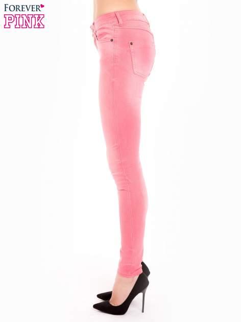 Różowe spodnie jeansowe super skinny                                  zdj.                                  3