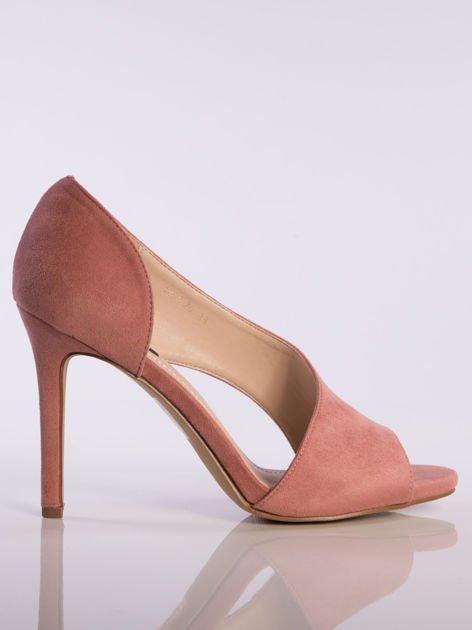 Różowe wsuwane sandały na szpilkach z asymetryczną cholewką