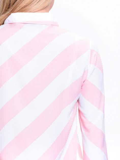 Różowo-biała koszula w skośne pasy                                  zdj.                                  6