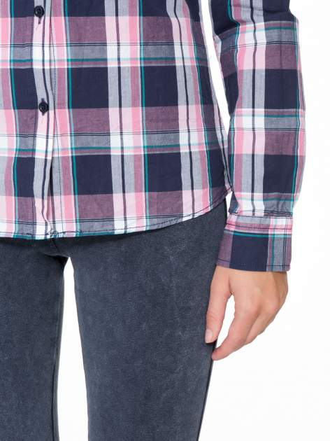 Różowo-granatowa koszula w kratę z kieszeniami                                  zdj.                                  8