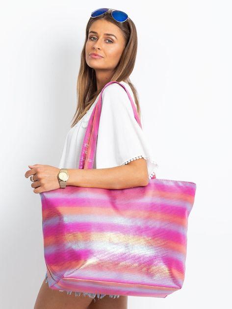 Różowo-pomarańczowa duża torba damska                              zdj.                              3