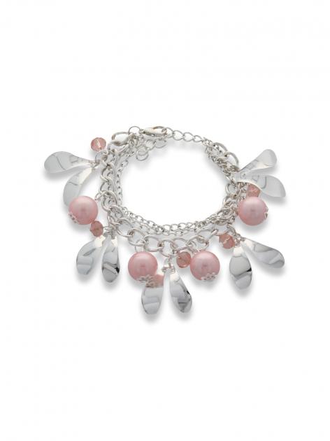 Różowo - srebrna Bransoletka z zawieszkami
