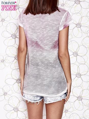 Różowo-szary t-shirt z efektem ombre                                  zdj.                                  4