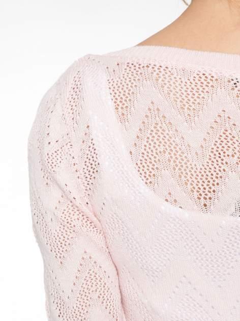 Różowy ażurowy sweterek z rękawem 3/4                                  zdj.                                  5