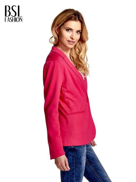 Różowy bawełniany żakiet damski na jeden guzik                                  zdj.                                  3