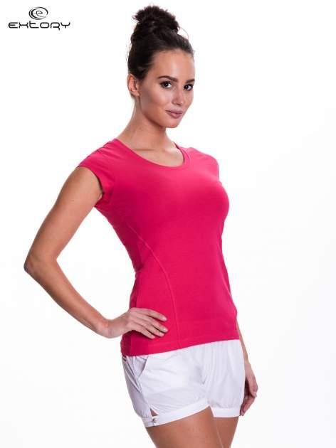 Różowy damski t-shirt sportowy basic                                  zdj.                                  3