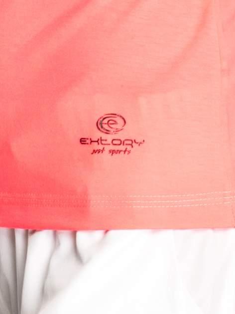 Różowy damski t-shirt sportowy z kieszonką                                  zdj.                                  5