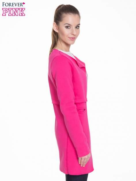 Różowy dresowy bluzopłaszczyk o pudełkowym kroju                                  zdj.                                  3