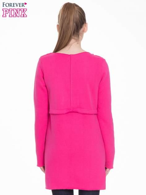 Różowy dresowy bluzopłaszczyk o pudełkowym kroju                                  zdj.                                  4