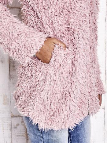 Różowy futrzany sweter kurtka na suwak                                  zdj.                                  8