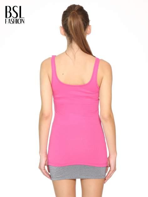 Różowy gładki top na szerokich ramiączkach                                  zdj.                                  4