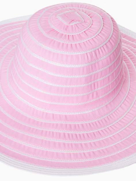 Różowy kapelusz słomiany z dużym rondem i drobnymi paskami                                  zdj.                                  6
