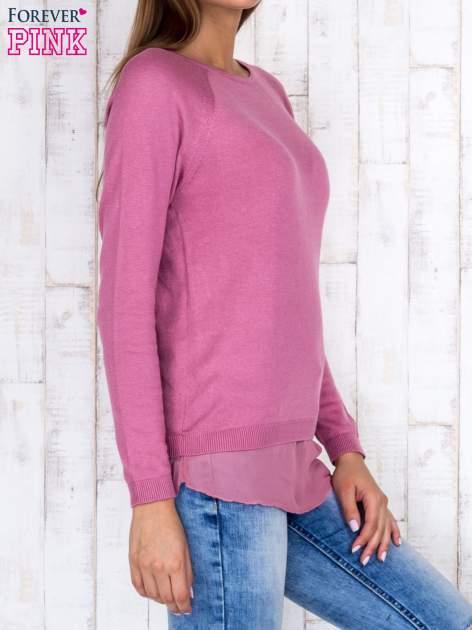 Różowy luźny sweter z siateczką i wycięciem z tyłu                                  zdj.                                  3