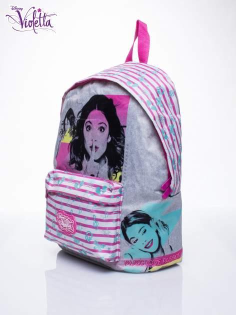 Różowy plecak szkolny w paski DISNEY Violetta                                  zdj.                                  2