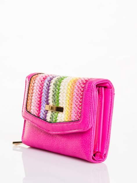 Różowy portfel z plecionką                                  zdj.                                  2