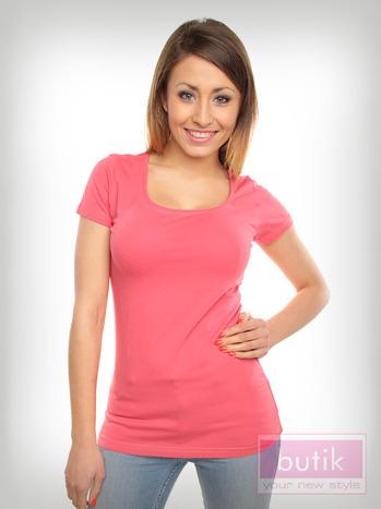 Różowy prosty t-shirt sportowy                                  zdj.                                  2