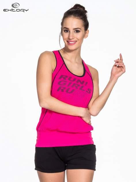 Różowy siatkowy top sportowy z napisem RUN GIRLS RUN                                  zdj.                                  1