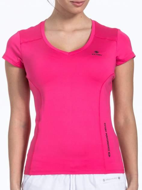 Różowy sportowy t-shirt z dekoltem U                                  zdj.                                  5
