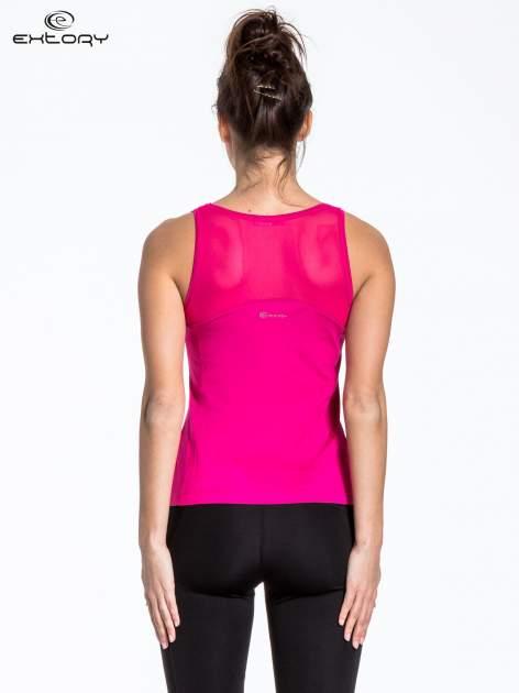 Różowy sportowy top z aplikacją przy dekolcie                                  zdj.                                  3