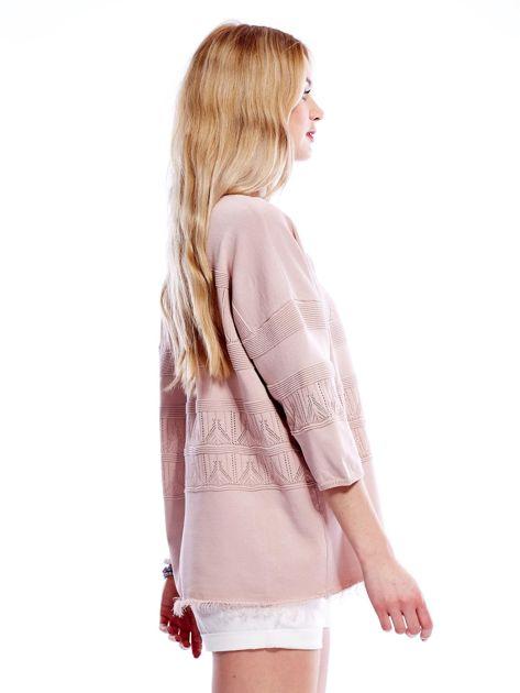 Różowy sweter w delikatny wzór                              zdj.                              5