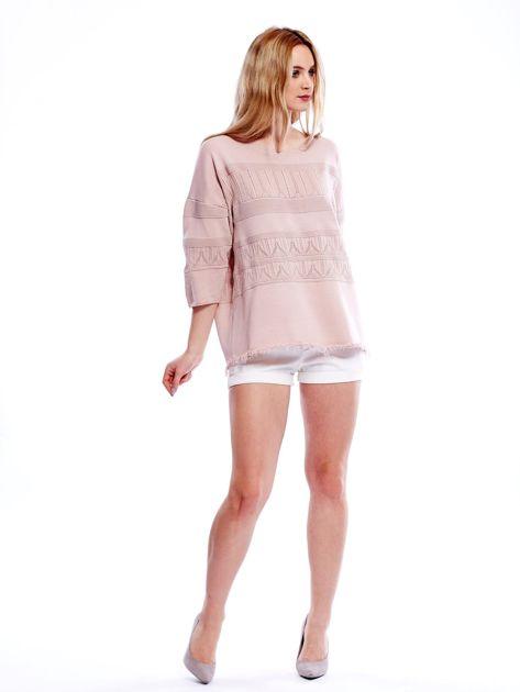 Różowy sweter w delikatny wzór                                  zdj.                                  6