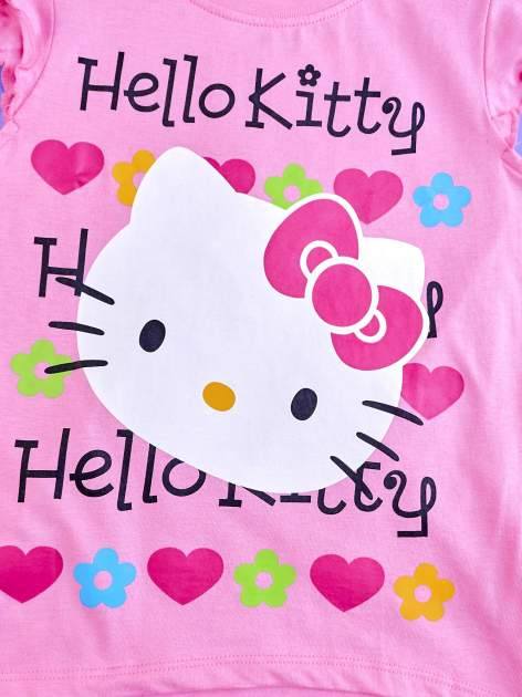 Różowy t-shirt dla dziewczynki z falbankami HELLO KITTY                                  zdj.                                  4
