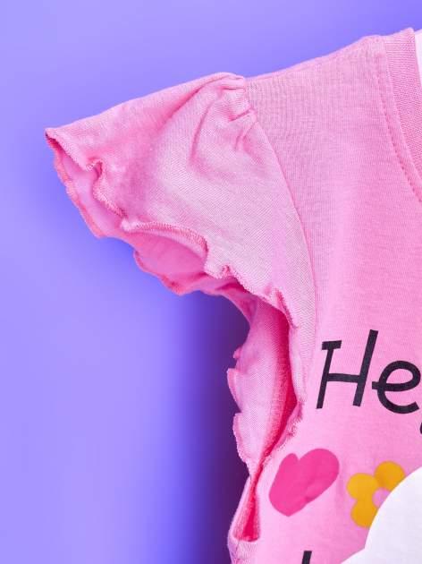 Różowy t-shirt dla dziewczynki z falbankami HELLO KITTY                                  zdj.                                  6