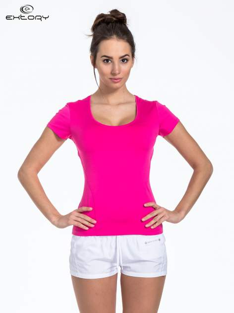 Różowy t-shirt sportowy basic z dekoltem U