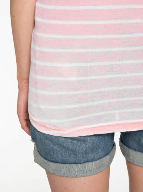 Różowy t-shirt w paski z napisem FIRENZE TOSCANA                                  zdj.                                  10