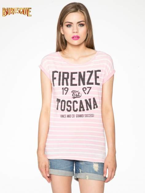 Różowy t-shirt w paski z napisem FIRENZE TOSCANA                                  zdj.                                  11