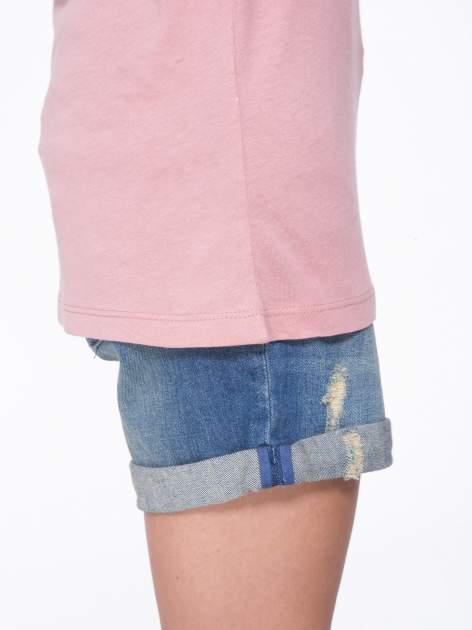 Różowy t-shirt z czarnymi skórzanymi rękawami                                  zdj.                                  8