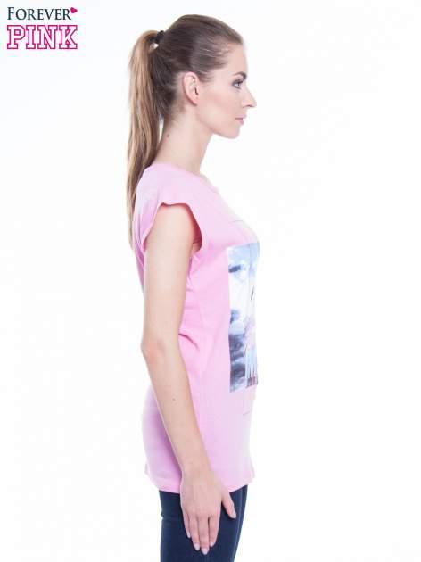 Różowy t-shirt z nadrukiem FLAMINGO MOTEL                                  zdj.                                  2