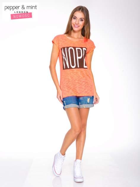 Różowy t-shirt z nadrukiem NOPE                                  zdj.                                  5