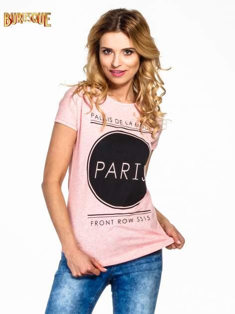 Różowy t-shirt z nadrukiem PARIS                                  zdj.                                  1