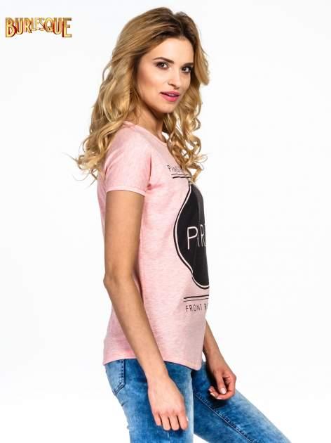 Różowy t-shirt z nadrukiem PARIS                                  zdj.                                  3