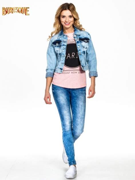 Różowy t-shirt z nadrukiem PARIS                                  zdj.                                  2