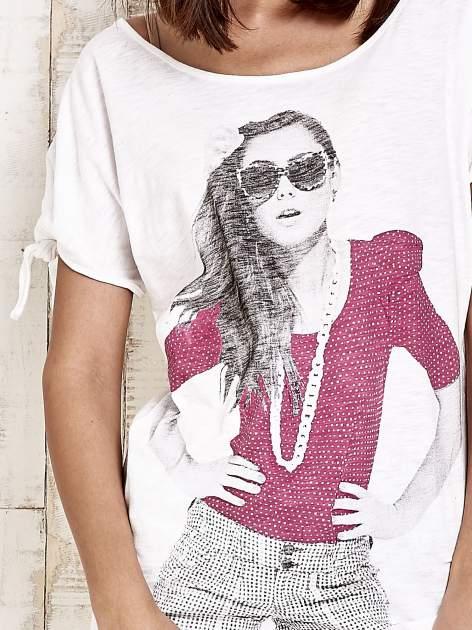 Różowy t-shirt z nadrukiem dziewczyny Funk'n'Soul                                  zdj.                                  5