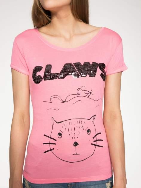 Różowy t-shirt z nadrukiem kota i myszy                                  zdj.                                  7