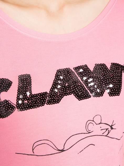 Różowy t-shirt z nadrukiem kota i myszy                                  zdj.                                  8