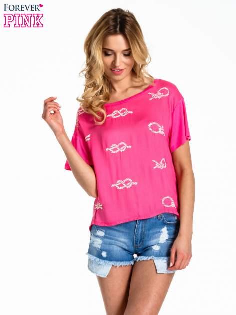 Różowy t-shirt z nadrukiem nieskończoności