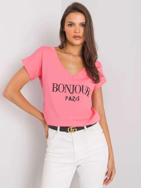 Różowy t-shirt z napisem Emille