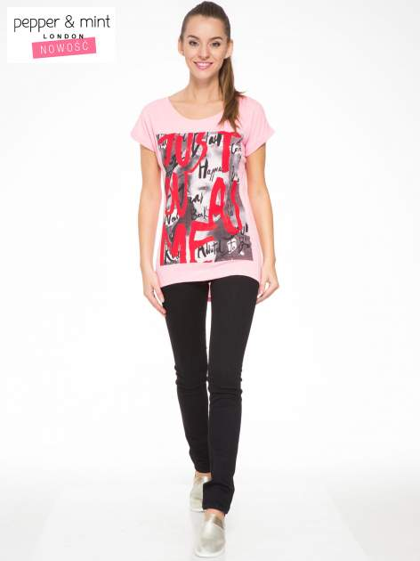 Rózowy t-shirt z napisem JUST YOU AND ME                                  zdj.                                  4