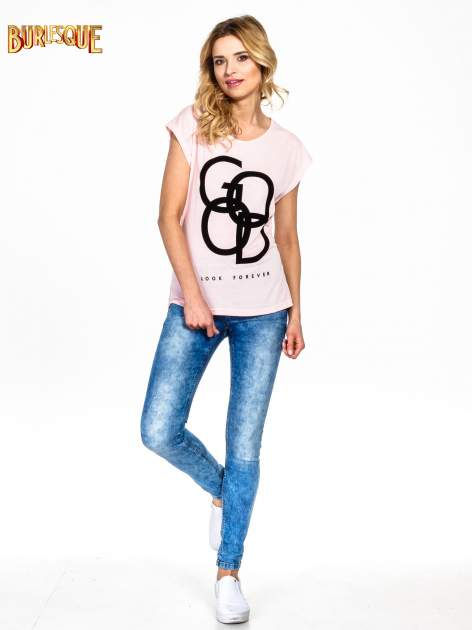 Różowy t-shirt z napisem LOOK GOOD FOREVER                                  zdj.                                  6